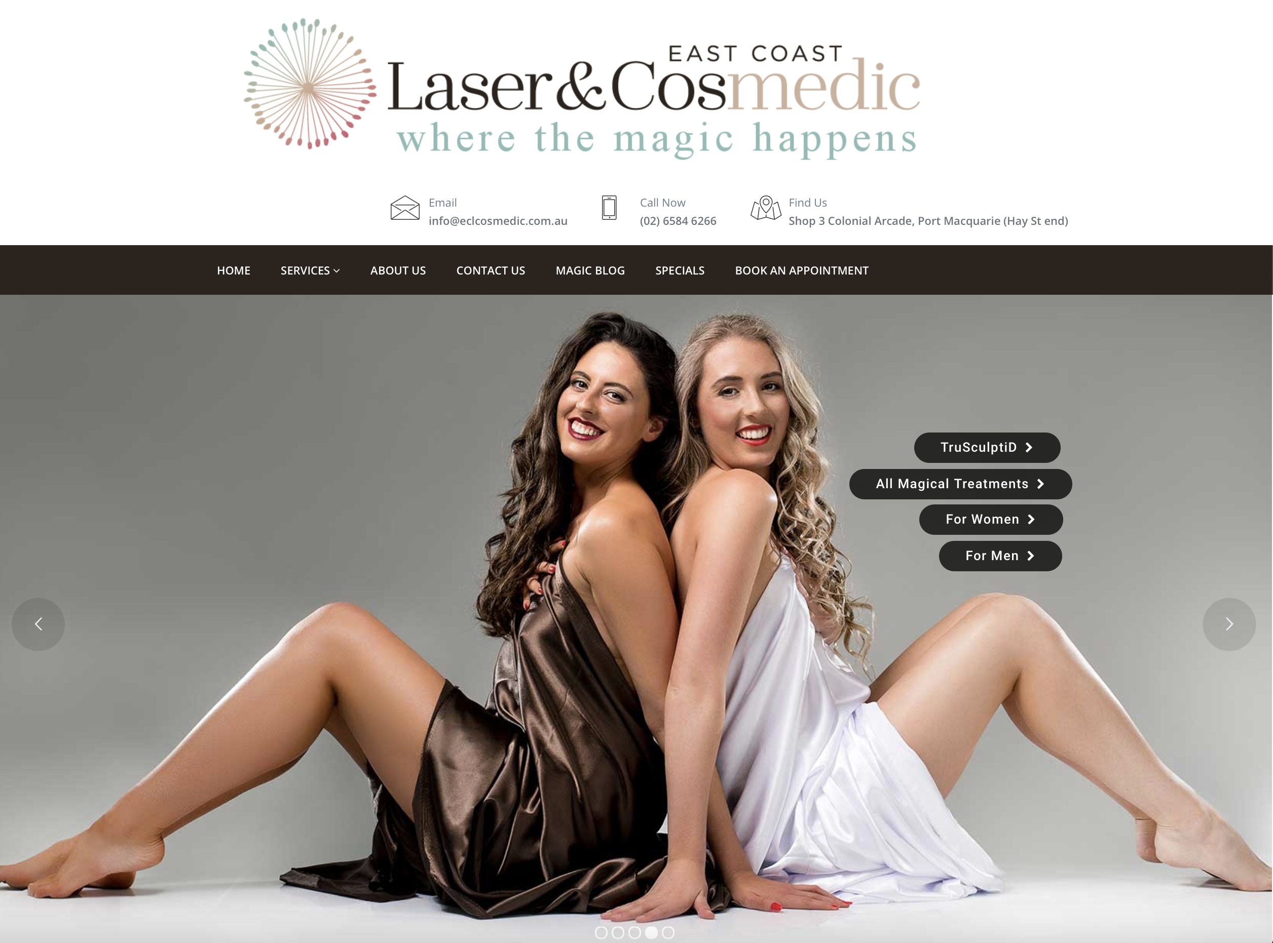 Another engaging website by Vermilion Pinstripes | East Coast Laser & Cosmedic