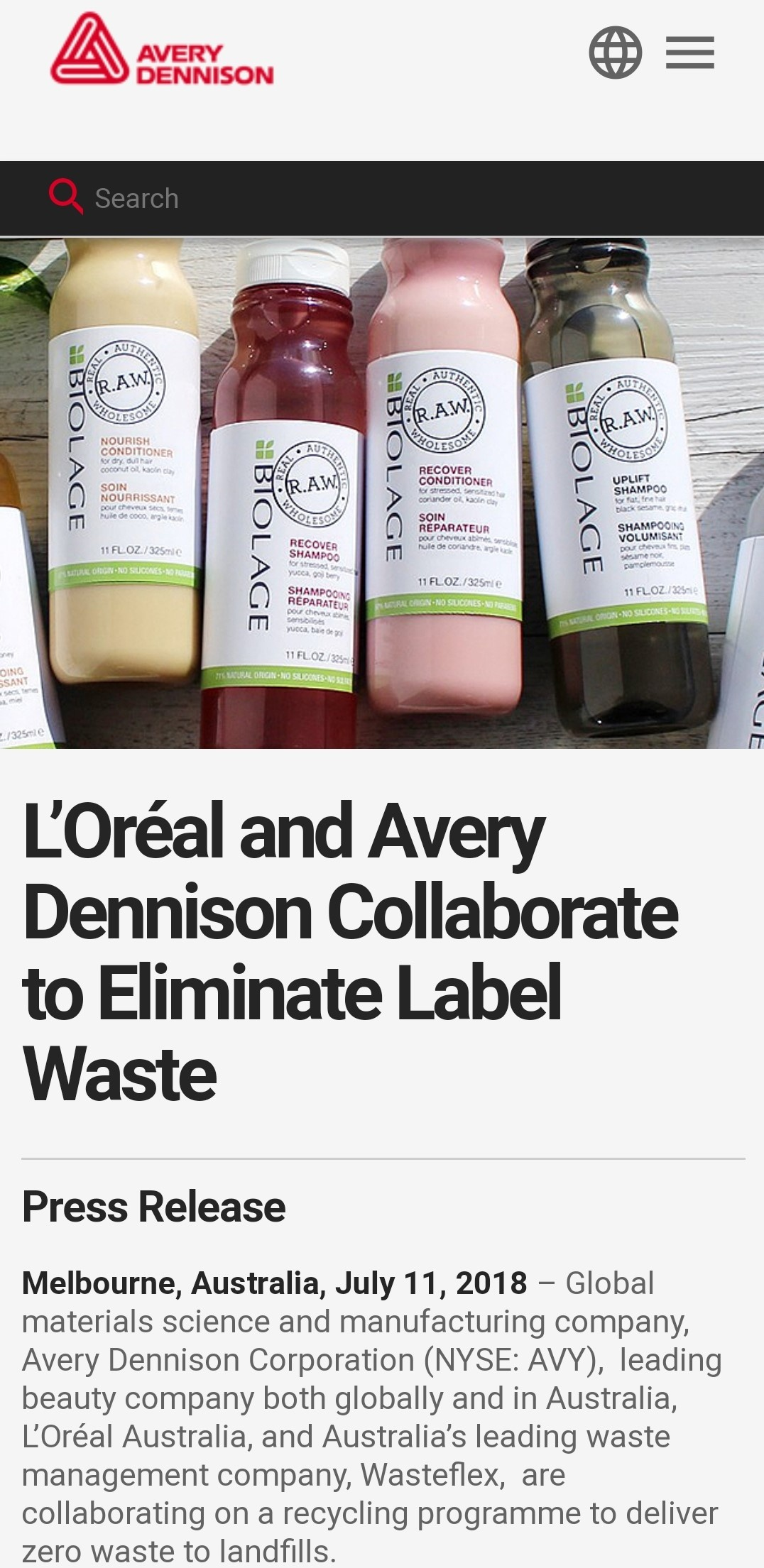 Vermilion Pinstripes reporting on Avery Dennison LOreal and Wasteflex on zero waste diverting liner waste from landfills recycling program