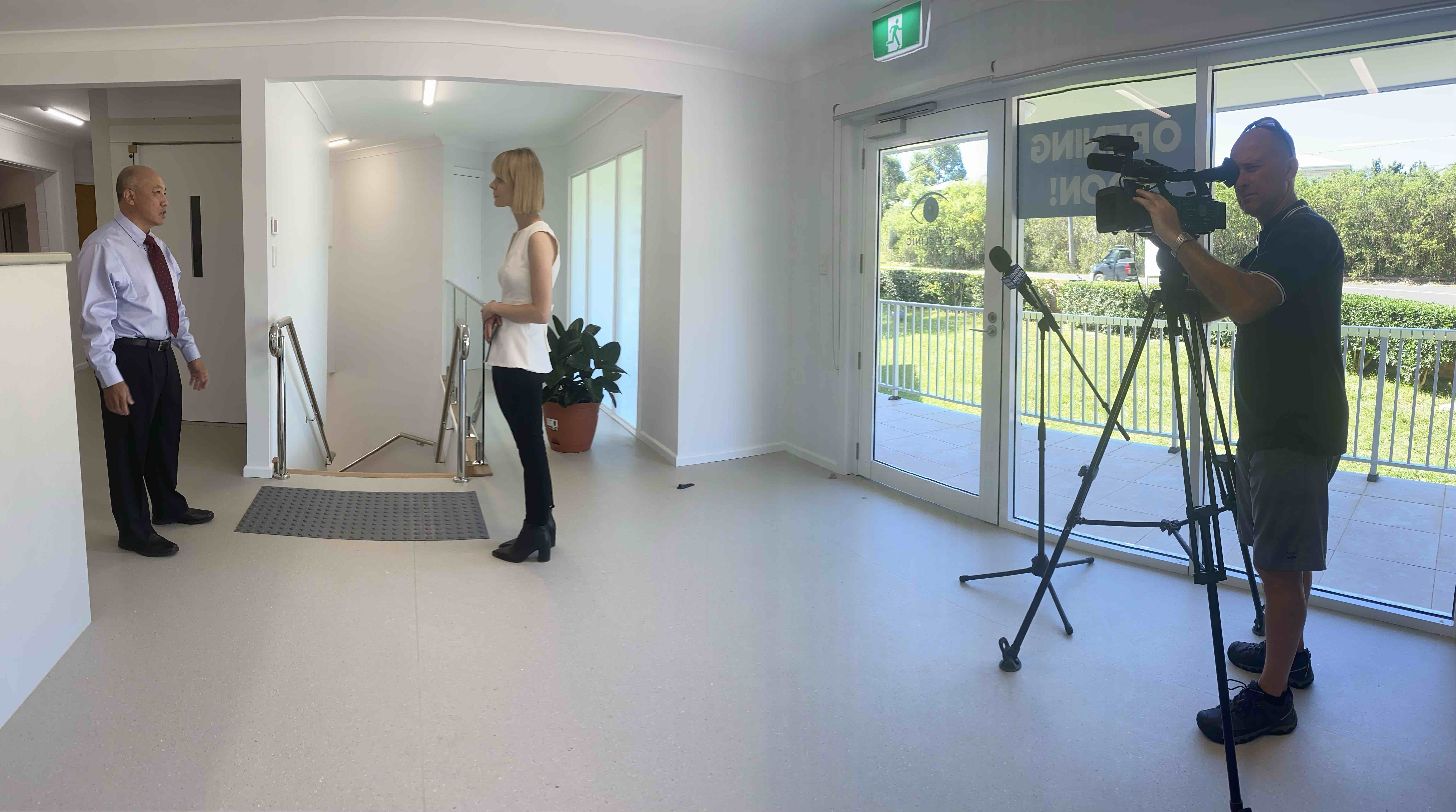 Mid North Coast eye clinic media interview with NBN TV News PR by Vermilion Pinstripes