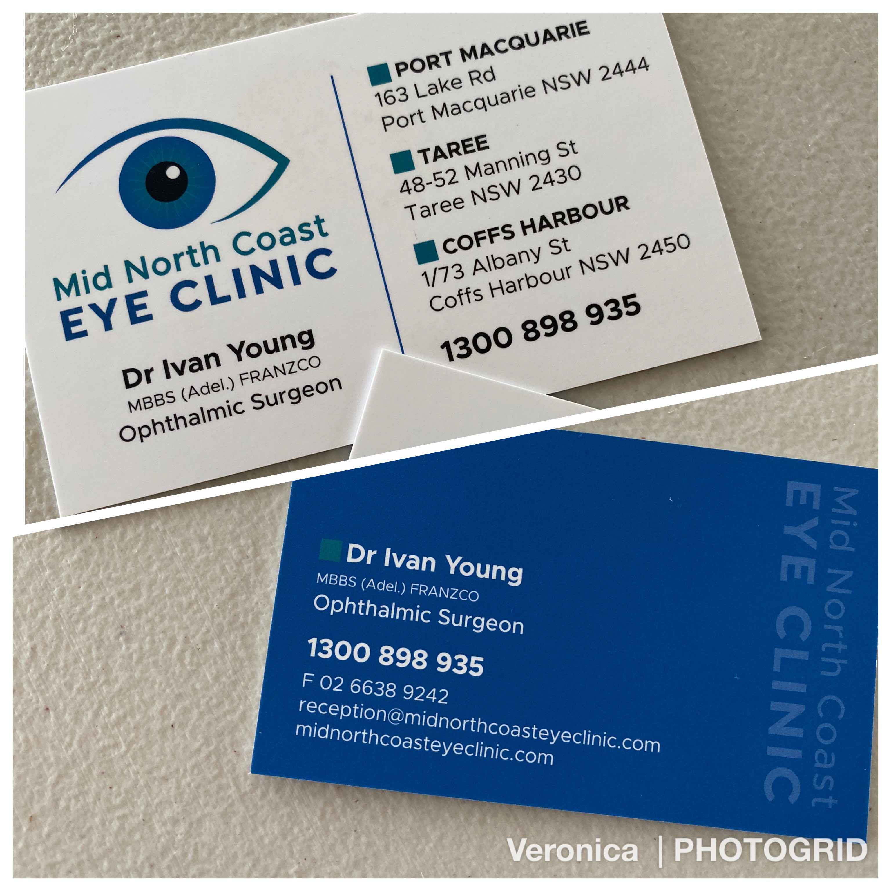 New business cards for Mid North Coast Eye Clinic by Vermilion Pinstripes