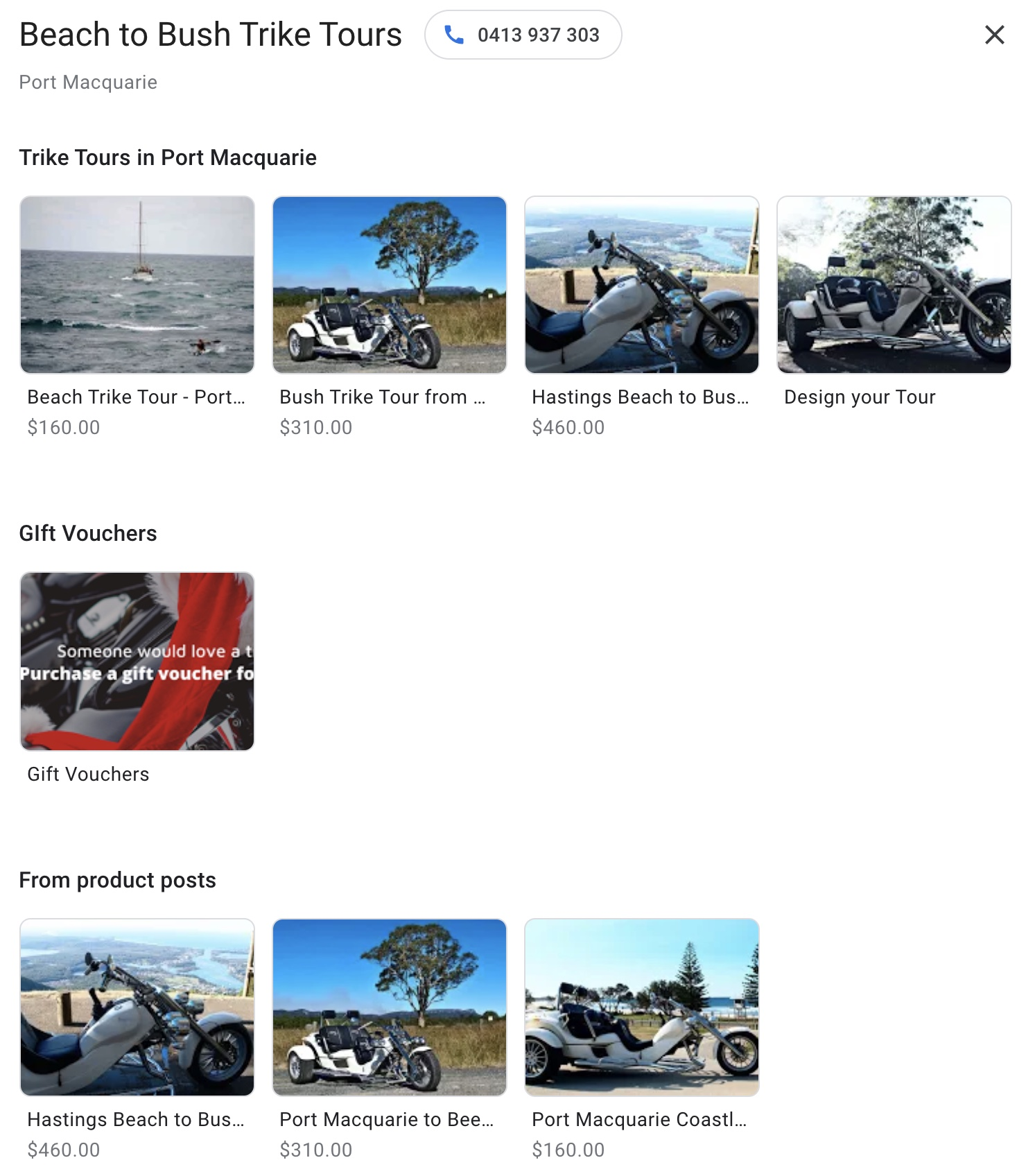 Beach to Bush Trike tours Promotions set up on Google My Business, by Vermilion Pinstripes