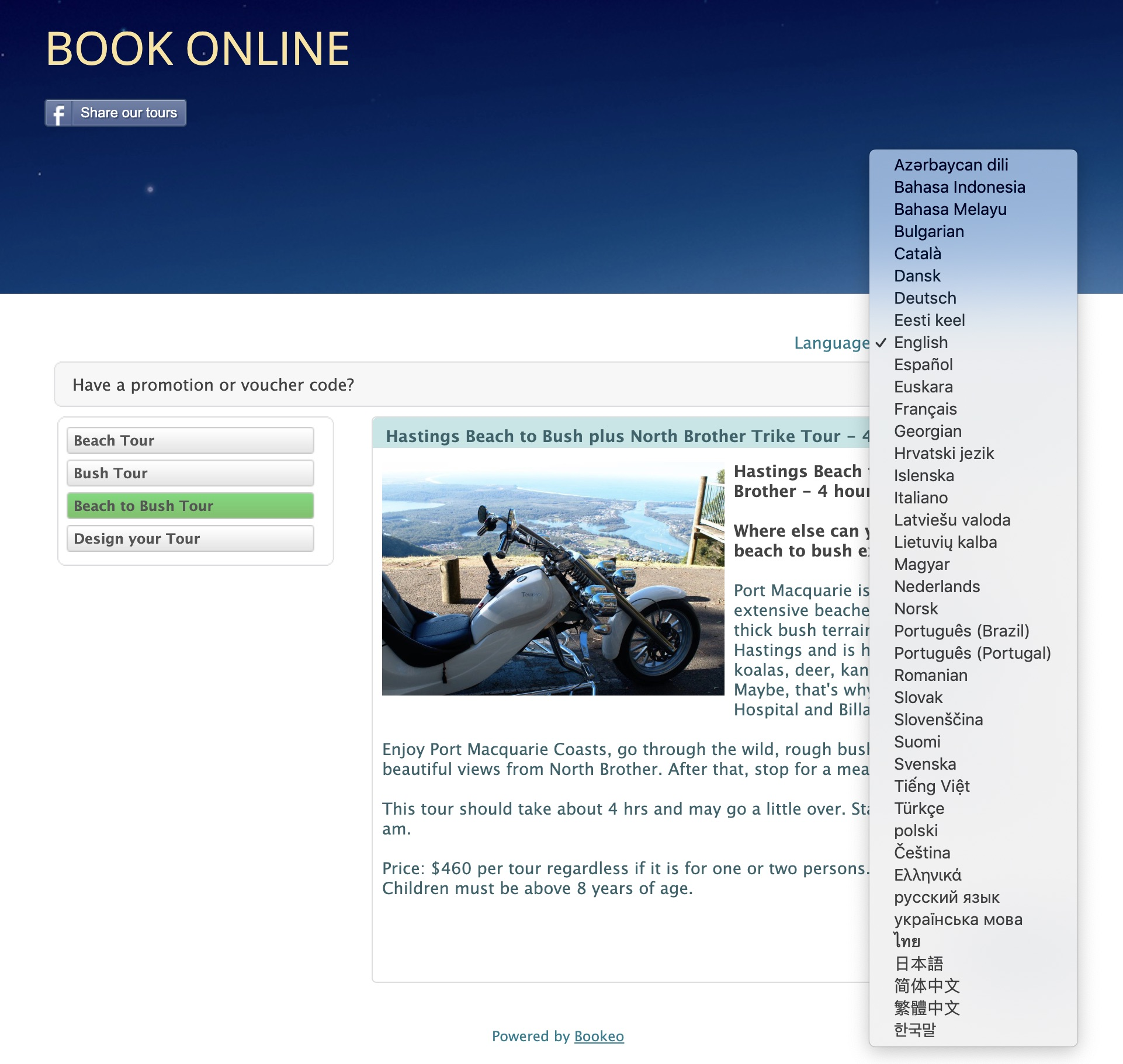 Bookeo Online Booking system by Vermilion Pinstripes