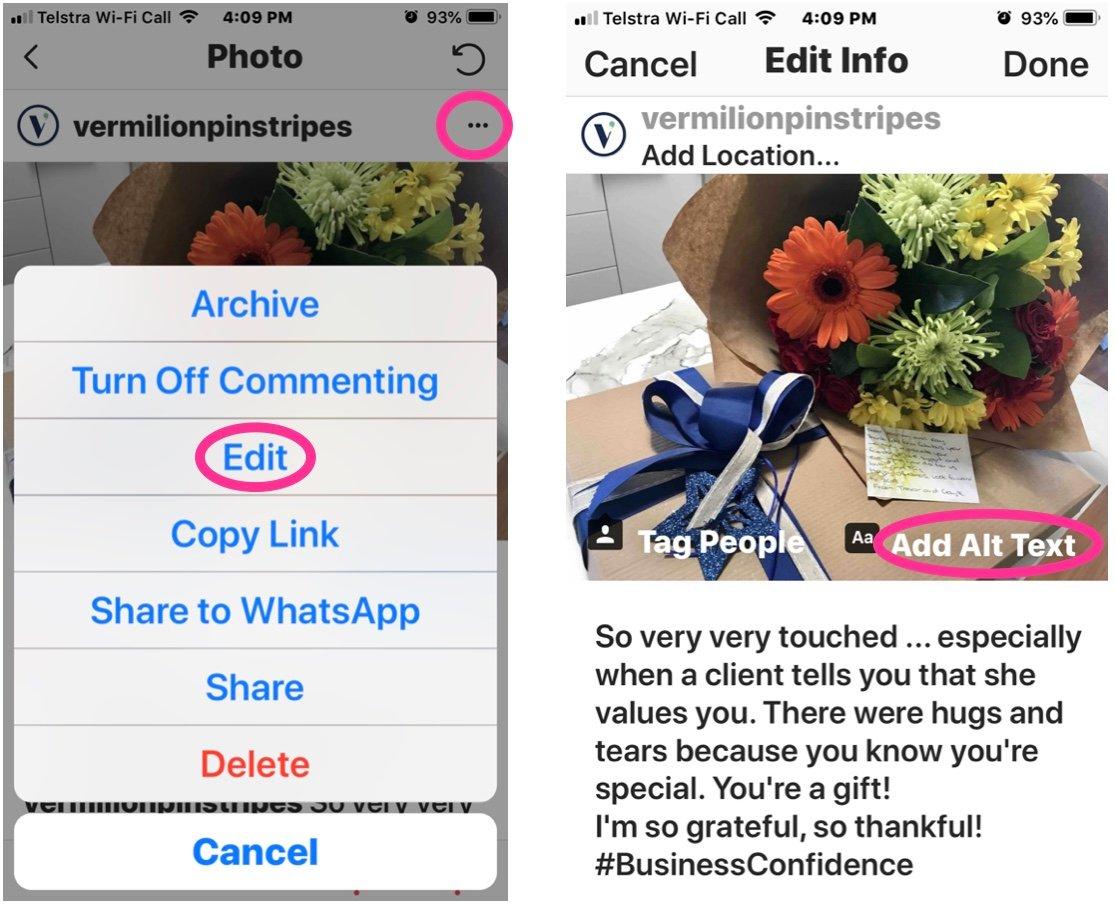 Adding alt-text into Instagram posts